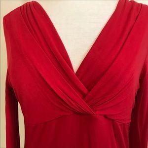 MICHAEL MICHAEL KORS blouse red draped v-neck M